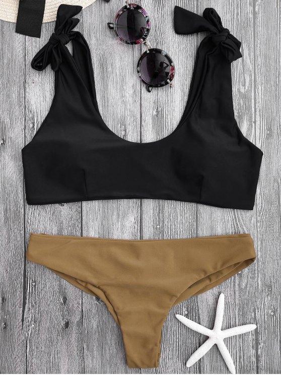 outfits Tie Shoulder Padded Scoop Bikini Set - BLACK S