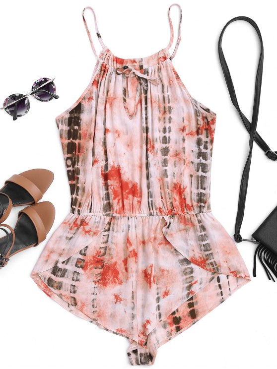 chic High Neck Layered Tie Dyed Romper - MULTICOLOR M