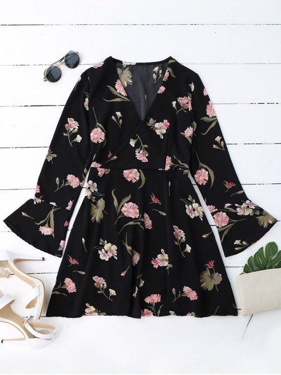 Robe surplise à manches cloche florales - Noir M