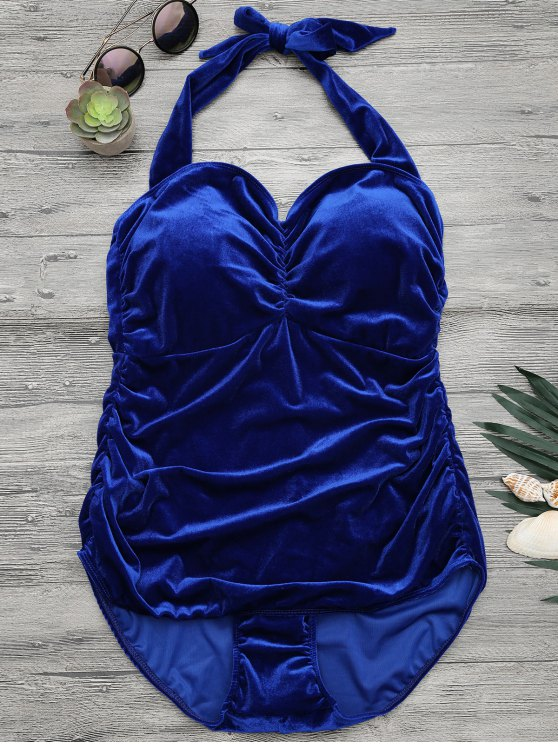 fashion Halter Padded Velvet Plus Size Bathing Suit - ROYAL XL