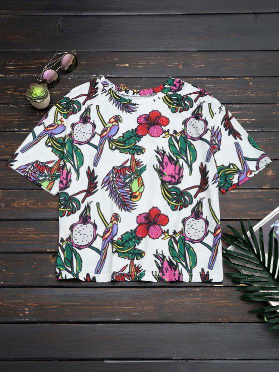 Top à grande taille imprimé de motif floral et d'oiseaux - Floral S