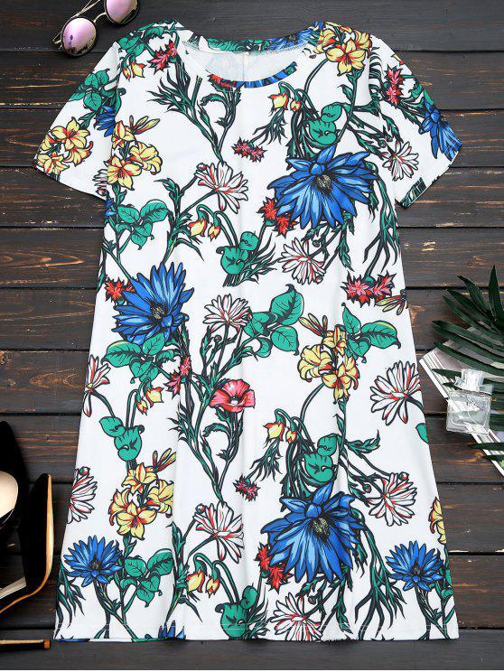 فستان قصيرة الأكمام طباعة الأزهار مستقيم مصغر - الأزهار L