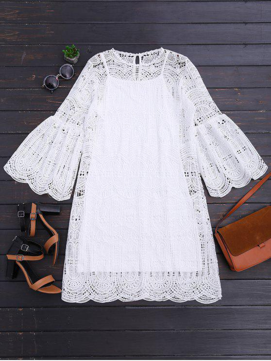 hot Scalloped Openwork Dress and Cami Dress Set - WHITE L