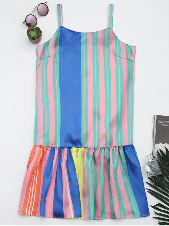 Colorful Stripes Ruffles Casual Dress - Rayure S