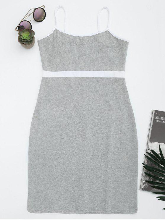 Dos tonos Bodycon Slip mini vestido - Gris S