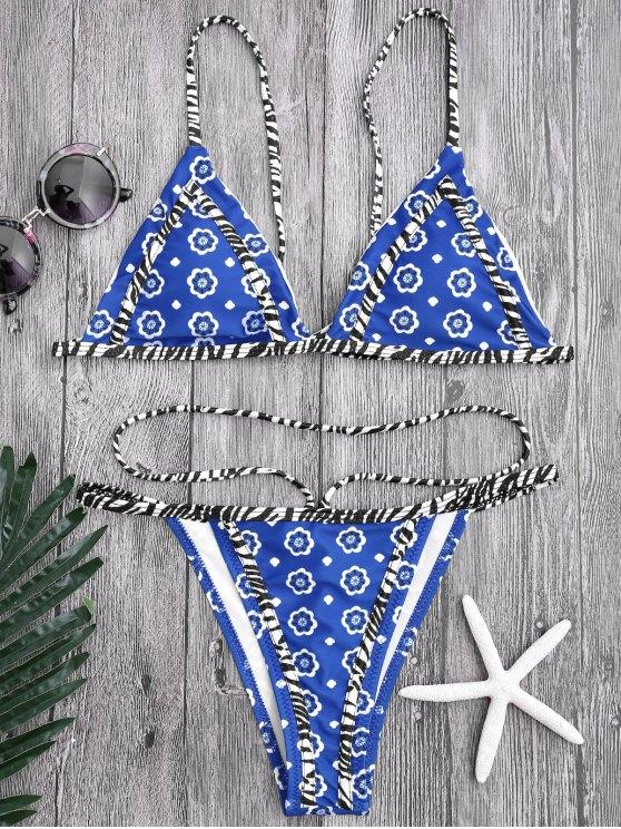 Bikinis string de bain floral - Bleu S