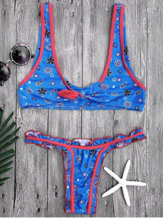 Knotted Printed Rüschen-Bikini-Set - Blau M
