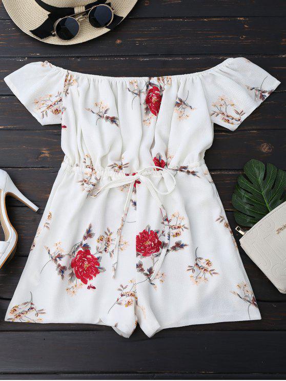 Off The Shoulder Floral Drawstring Combinaison - Blanc XL
