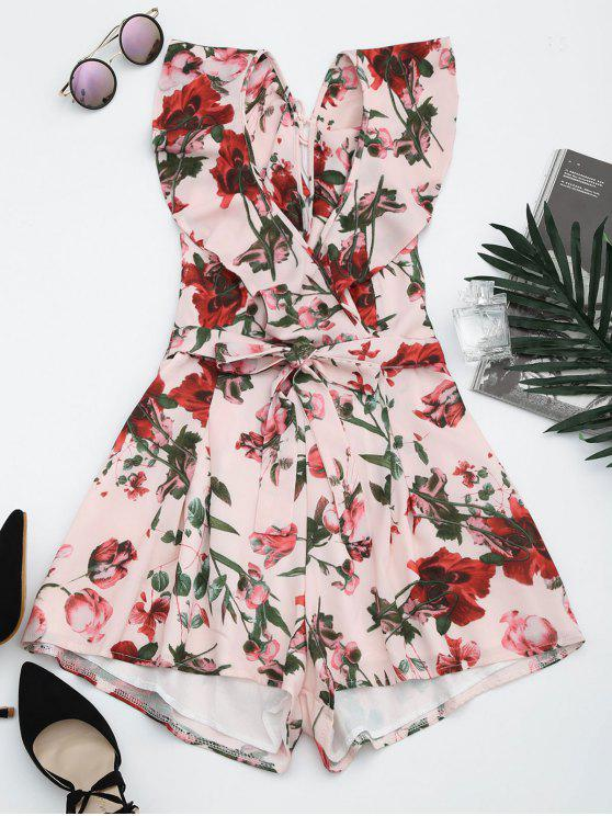fashion Floral Ruffles Cut Out Romper - PINK S
