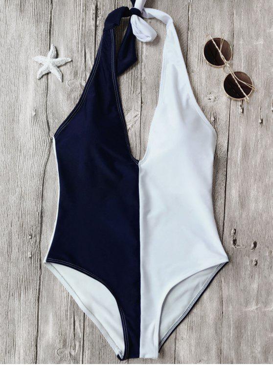 sale Color Block Halterneck One Piece Swimsuit - BLUE AND WHITE L