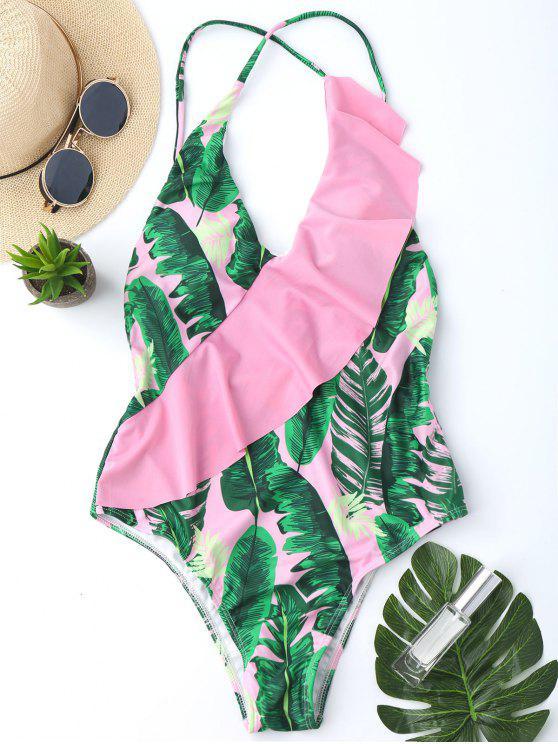 women One Piece Ruffles Backless Palm Leaf Swimwear - PINK M