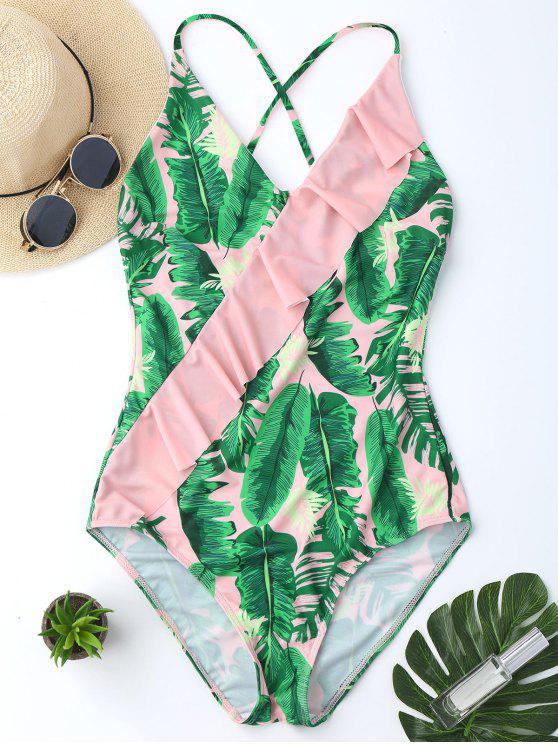 Bañador en Una Pieza de Volantes con Estampado de Hojas de Palma con Escote Pronunciado en Espalda - Rosa XL