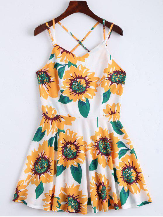 فستان  الشمس طباعة عباد الشمس مفتوح الظهر كامي - أبيض S
