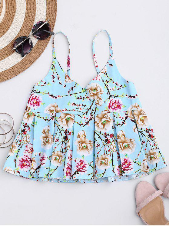 outfits Floral Print Ruffle Hem Cami Top - SKY BLUE M