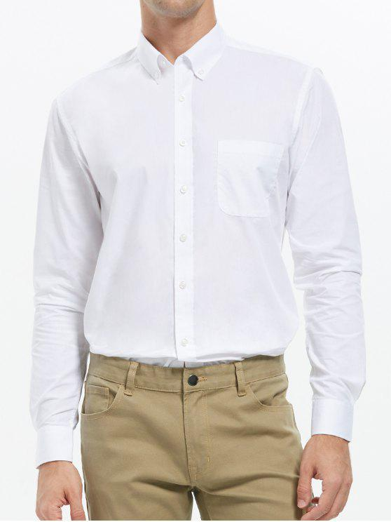 زر أسفل قميص الجيب الأعمال - أبيض 3XL