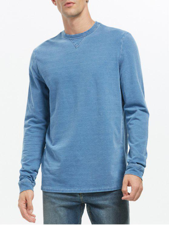 buy Crew Neck Plain Sweatshirt - BLUE 2XL