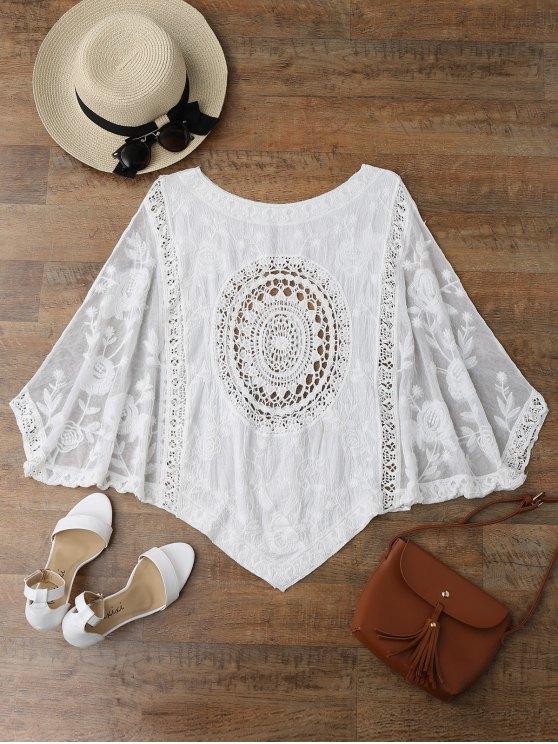 women Irregular Hem Scoop Crochet Cover Up - WHITE ONE SIZE