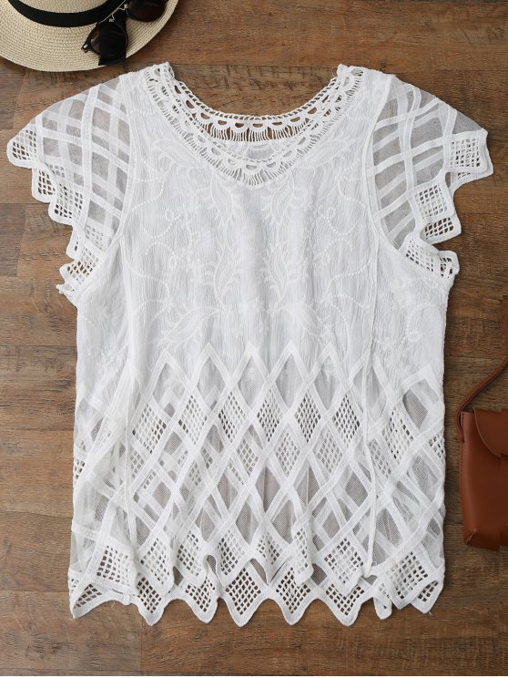 lady Geometric Embroidered Crochet Panel Cover Up - WHITE ONE SIZE