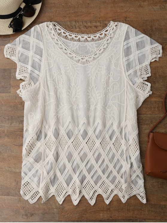 best Geometric Embroidered Crochet Panel Cover Up - OFF-WHITE ONE SIZE
