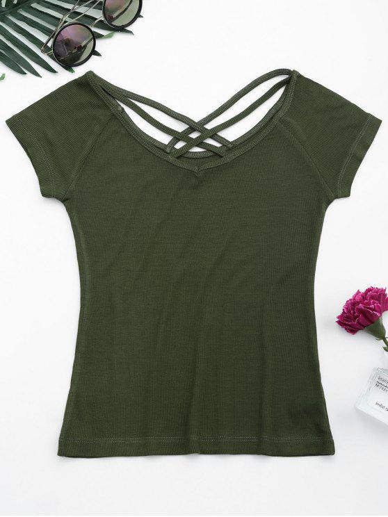 shop Criss Cross Ribbed Knitted Tee - ARMY GREEN S