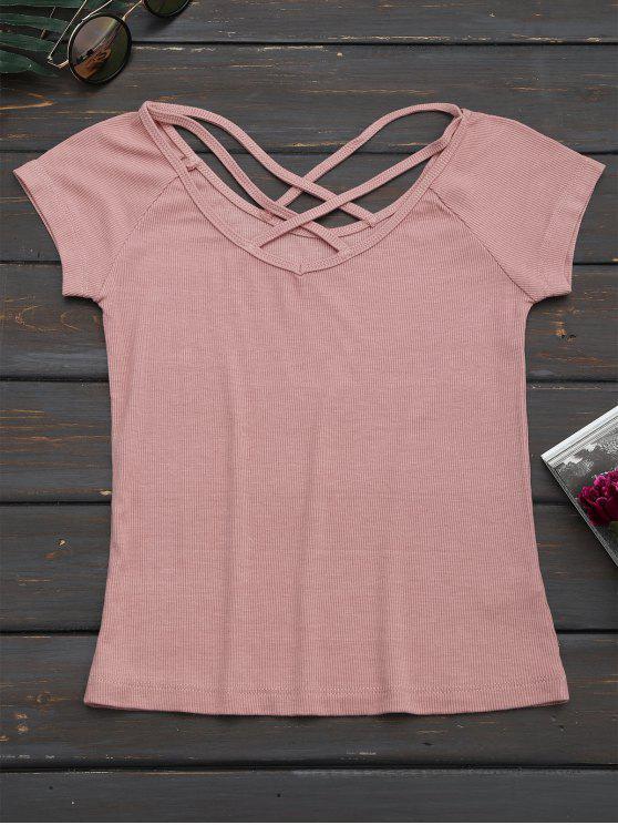 T-shirt en tricot dos à lacet - ROSE PÂLE M