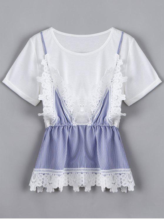 T-shirt Rayé Faux Deux Pièce Effet en Dentelle - Blanc XL