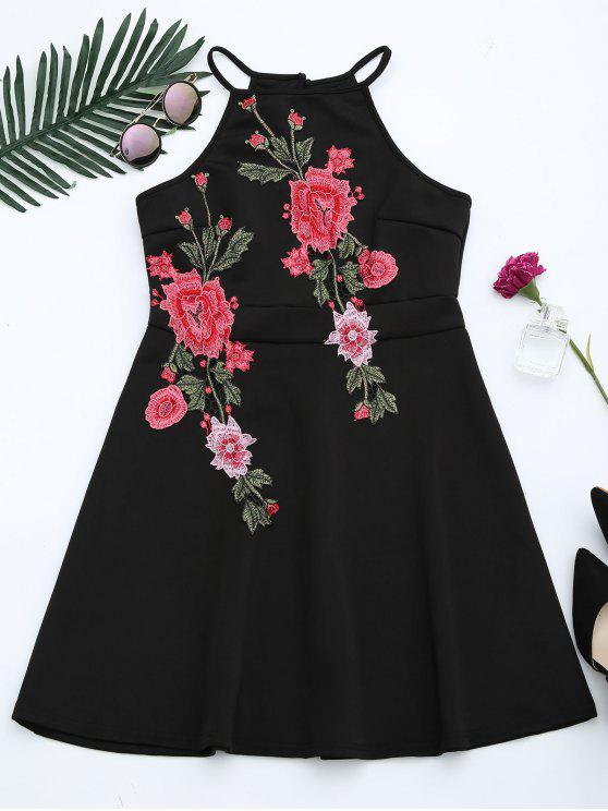 lady Floral Patched Cami Flare Dress - BLACK M
