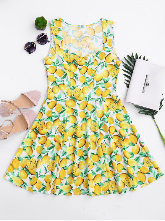 fashion Lemon Print Sleeveless Sweetheart Dress - YELLOW L