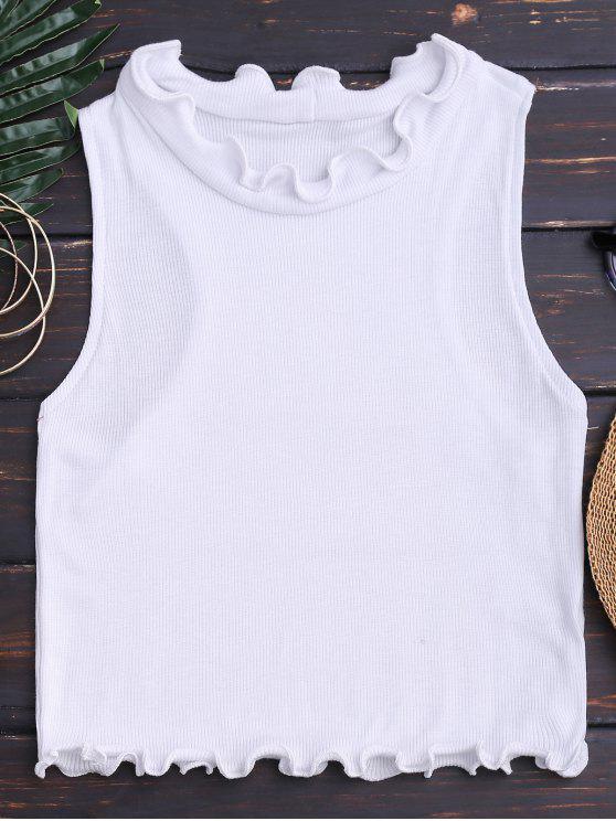 women Crop Ribbed Texture Ruffles Top - WHITE S