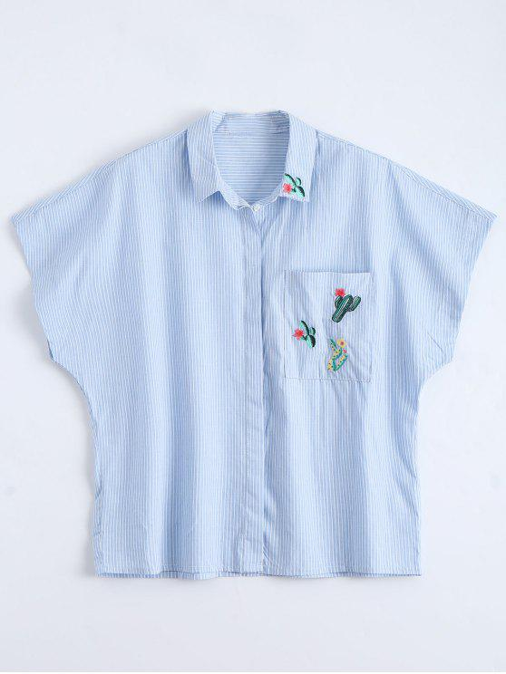 trendy Pocket Cactus Embroidered Striped Shirt - STRIPE S