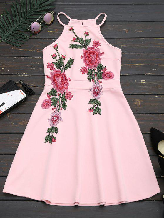 fashion Floral Patched Cami Flare Dress - PINK S