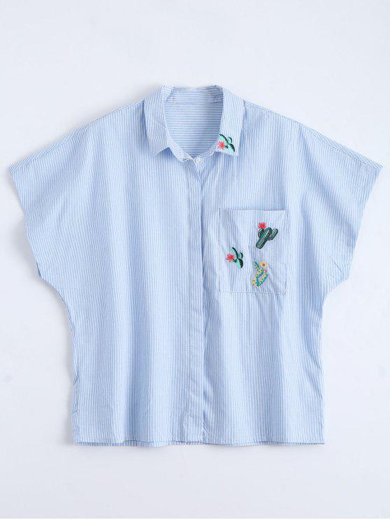 sale Pocket Cactus Embroidered Striped Shirt - STRIPE L