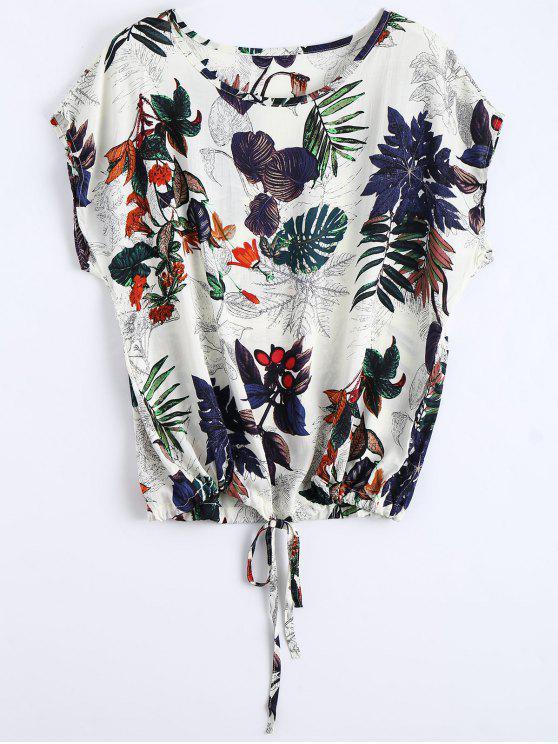 Blusa Estampada de Folhas com Gola Redonda e Cordinha - Multi Tamanho único