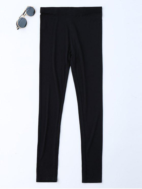 Stretchy Soft Elastic Waist Leggings - Black