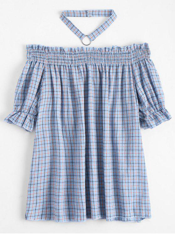 shops Ruffled Checked Blouse with Chocker - CHECKED XL