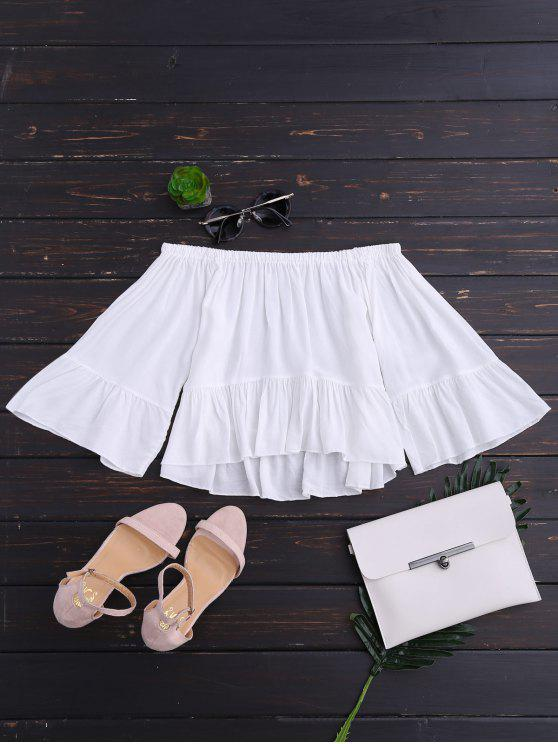 trendy Off The Shoulder Ruffle Hem Crop Blouse - WHITE L