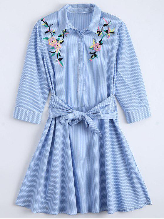 women Tied Floral Embroidered Striped Shirt Dress - BLUE L