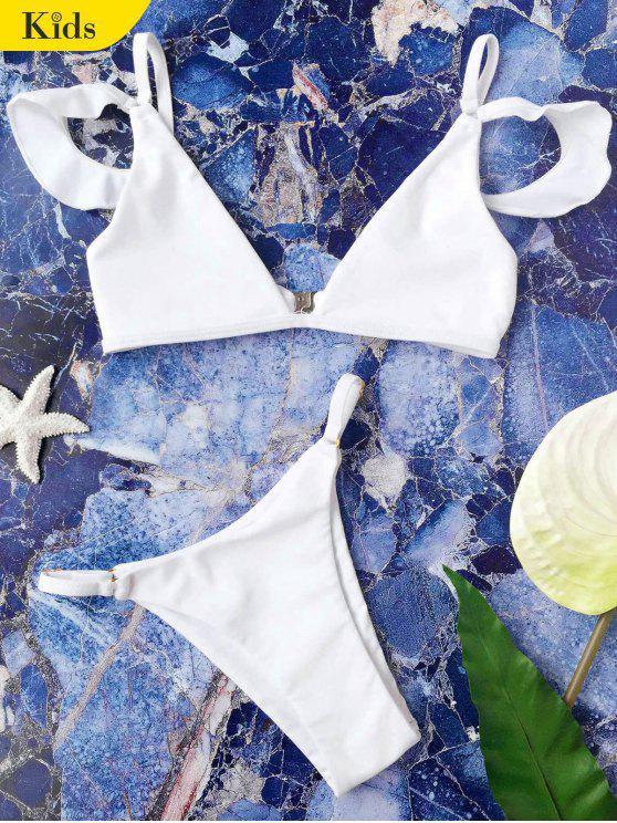 Set di bikini a righe per ragazze a maniche a ruches Cami - Bianco 4T