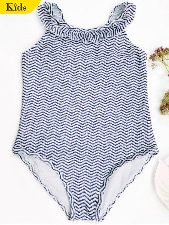 ladies Frilled Zig Zag One Piece Swimwear - BLUE AND WHITE 4T