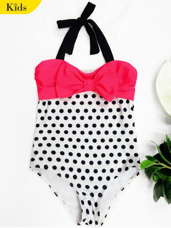 hot Bowknot Polka Dot One Piece Swimwear - WHITE 4T