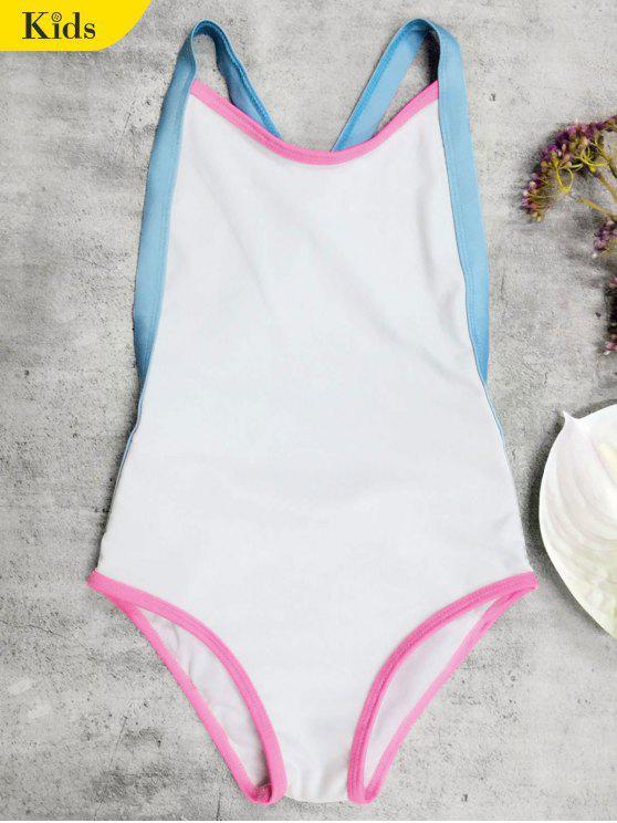 fancy Open Back Tricolor Girls One Piece Swimwear - WHITE 5T