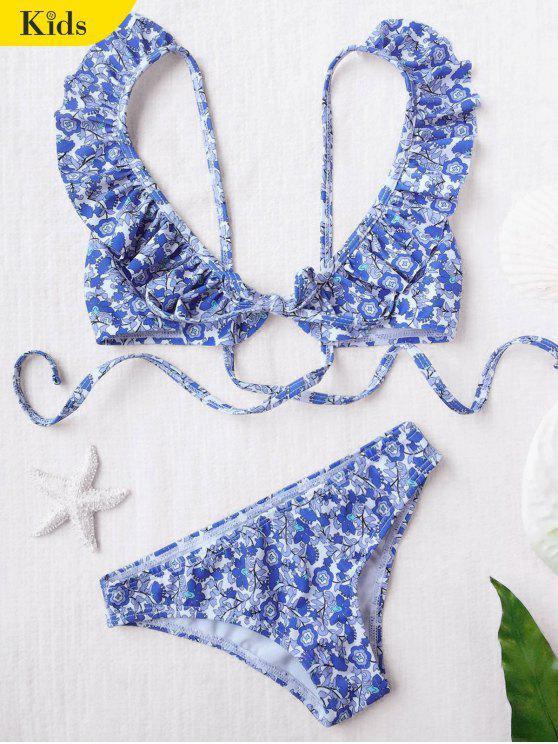 ladies Ruffled Tiny Floral Bikini - FLORAL 4T