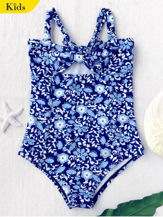chic Tiny Floral Cutout Bowknot Swimwear - FLORAL 4T