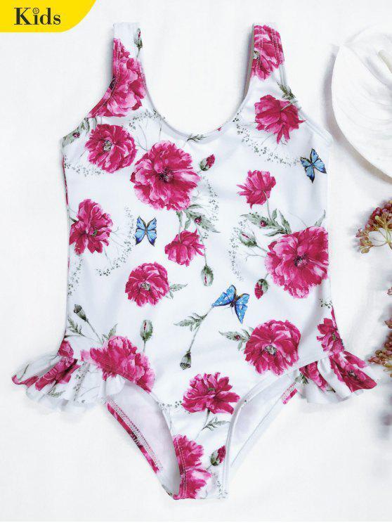 مايوه سكوب طباعة الأزهار كشكش للأطفال - أبيض 7T