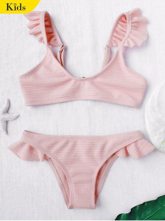 trendy Scoop Ribbed Texture Frilled Bikini - SHALLOW PINK 6T