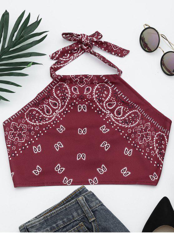 trendy Printed Halter Neck Crop Top - WINE RED S