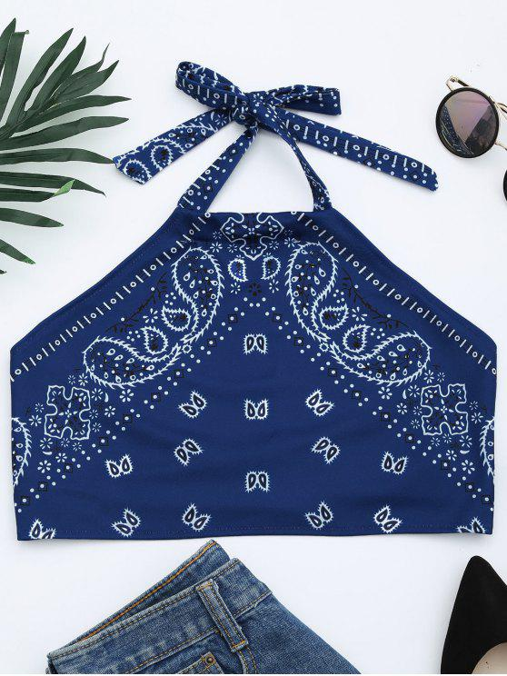 women Printed Halter Neck Crop Top - BLUE S