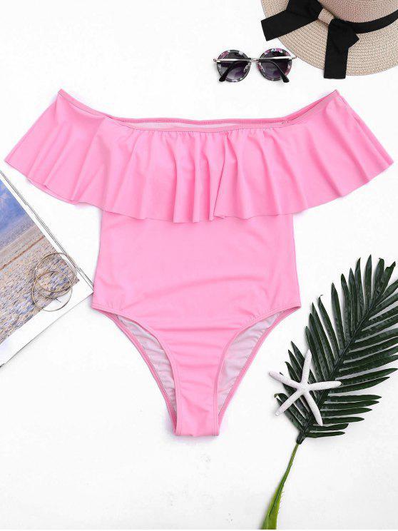 Maillots de bain à une pièce épaules dénudés à volants - ROSE PÂLE XL