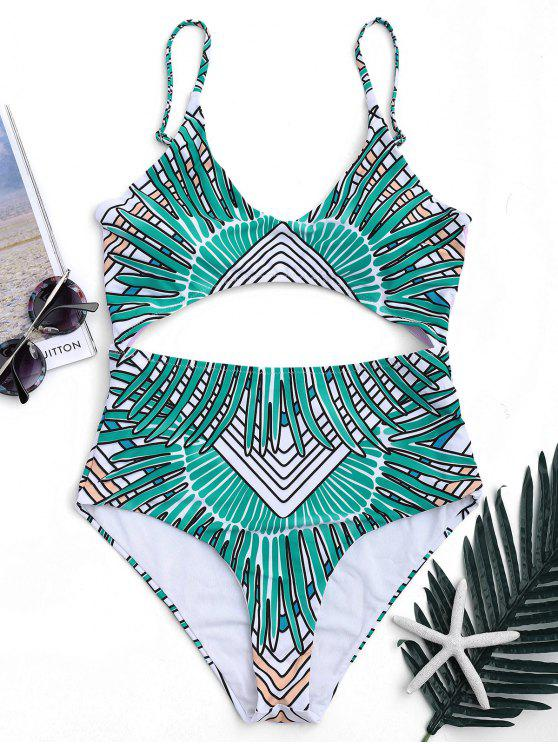 womens Tribal Cut Out Padded One-piece Swimsuit - GREEN XL