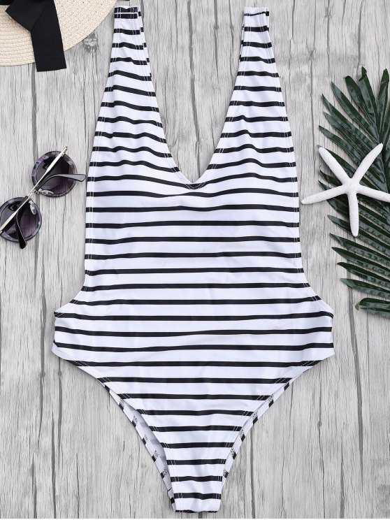 outfits Side Boob Striped One Piece Swimsuit - WHITE AND BLACK L